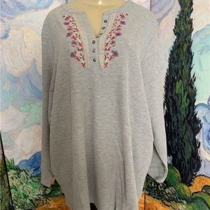 Woman Within Gray Thermal Embroidered Tunic Top